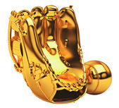 Sports: golden baseball glove and ball isolated — Stock Photo