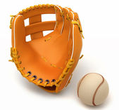 Sports in USA: baseball glove and ball — Stock Photo