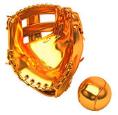 Sports in USA: golden baseball glove and ball — Stock Photo