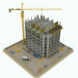 Worksite: top side view of unfinished building and crane — Stock Photo #6542792