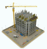 Worksite: top side view of unfinished building and crane — Stock Photo