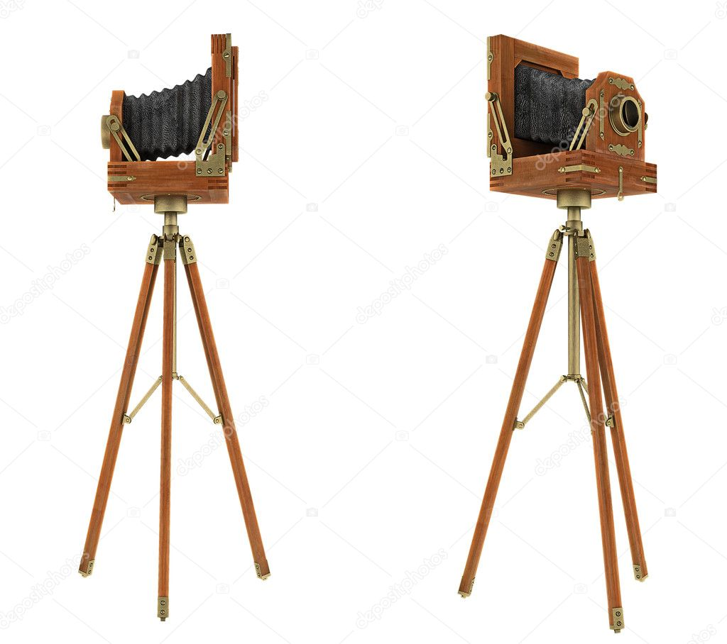 Side views of vintage large format camera isolated on white — Stock Photo #6542676