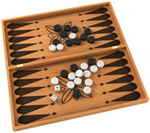 Top view of backgammon with chips and dice — Stock Photo