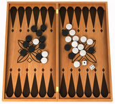 Leisure activity: wooden backgammon isolated — Stock Photo