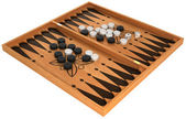 Leisure: backgammon with chips and dice isolated — Stok fotoğraf