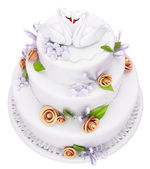 Wedding cake with roses and swans isolated — Stock Photo