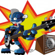 Bassist robot - Stock Vector