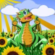 Dinosaur in the field of sunflowers - Stock Vector