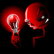 Red light illuminates a scary face - Stock Vector