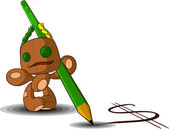 Rag doll with a pencil — Stockvector