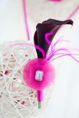 Bridal decoration of white sphere with pink boutonniere — Stock Photo