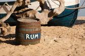 Barrel of rum on the seashore — Stock Photo