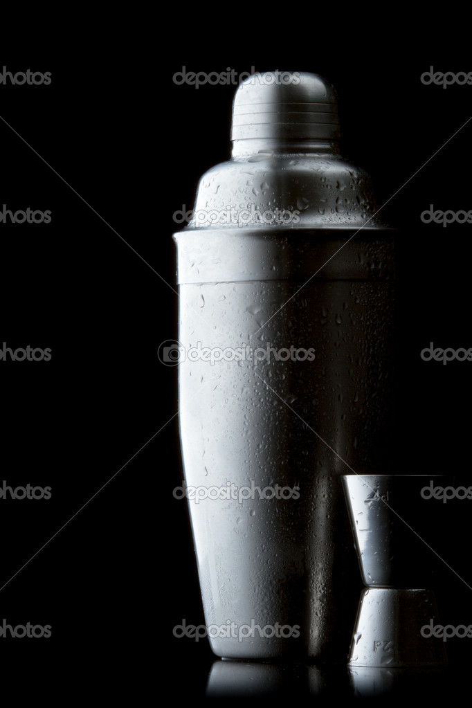 Stainless steel cocktail shaker on a red gradient — Stock Photo #5701535