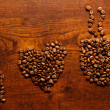 I love coffee inscription on the wooden table — Stock Photo