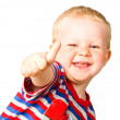 A happy boy is showing thumbs up isolated on the white backgrou — Stock Photo