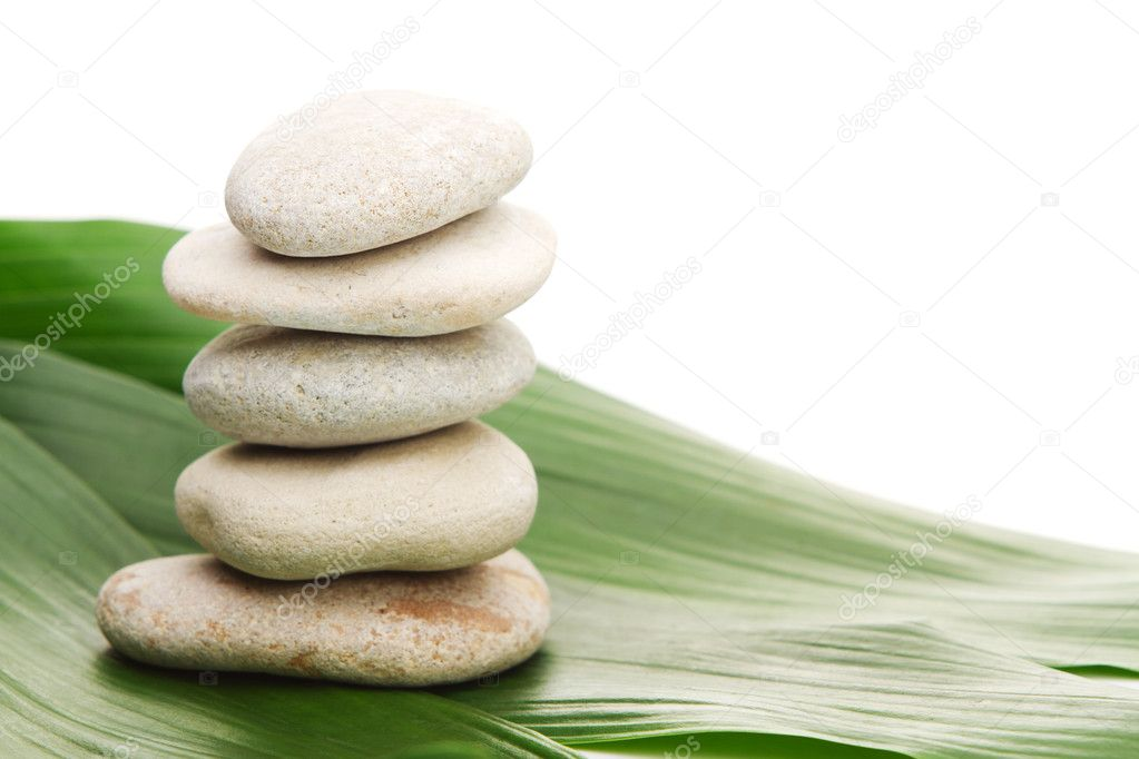 Stones and green bamboo — Stock Photo #5843362