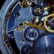 Clockwork macro isolated over the black background — Stockfoto