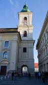 Holy Trinity Catholic church tower from Sibiu — Stock Photo