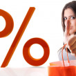 WOMAN AND PERCENT SYMBOL — Stock Photo