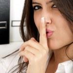 Business woman say shh secret — Stock Photo #6029193