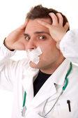 Ritratto di divertente giovane medico — Foto Stock