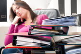 Girl are sleeping at work — Stock Photo
