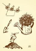 Hand drawn of gardening — Stock Vector