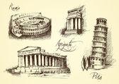 Italian monuments — Stock Vector
