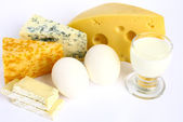Cheese, eggs and milk . — Stockfoto