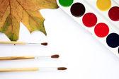 Vernici e pennelli - strumenti per la creatività. — Foto Stock