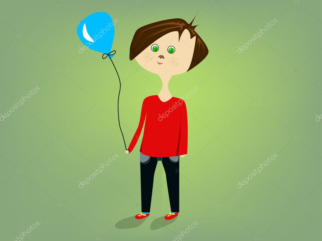 Cute little boy in red with blue balloon on the green background — Stock Vector #5690102