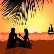 Young couple on the beach — Stock Vector #5735513