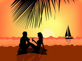Young couple on the beach — Stock Vector