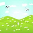 Lovely landscape with flowers on green hills and birds — Vettoriali Stock