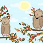 Autumn lanscape with cartoon owls asleep — Stock Vector