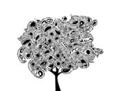 Abstract ornamental black tree — Stock Vector