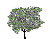 Abstrait arbre noir ornement avec fruits verts — Vecteur