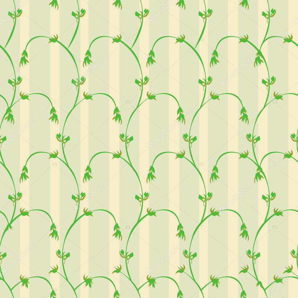 Seamless pattern with green branches and leaf on wallpaper stripes in warm colors — Stock Vector #6234817