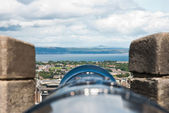 Edimburgh 城堡,从枪后视图 — 图库照片
