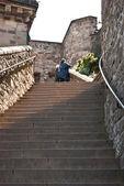 Edimburgh Castle, flight of steps — Stock Photo