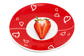 Deliciously half a red strawberry romantic plate — Stock Photo