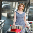 Beautifull woman with shopping cart — Stock Photo #5738614