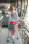 Beautifull woman with shopping cart — Stockfoto