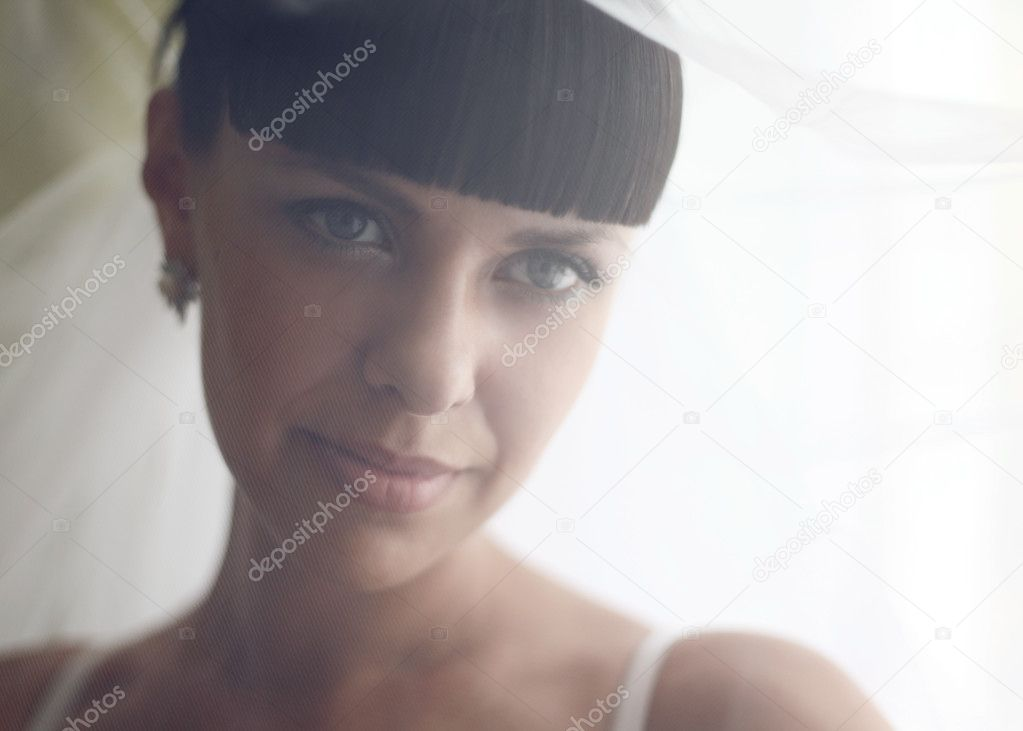 Close-up portrait of the bride covering her face with a veil  Stock Photo #5738744