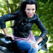 Biker girl - Stock Photo