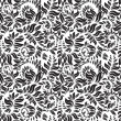 Stock Vector: Black and white seamless floral pattern