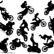 Motorcycle stunt silhouette set — Stock Vector