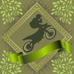 Постер, плакат: Motorcyclist stunt silhouette