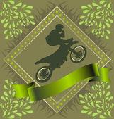 Motorcyclist stunt silhouette — Stockvector
