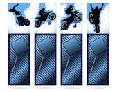 Elementi web su fondo metallico con silhouette di moto — Vettoriale Stock